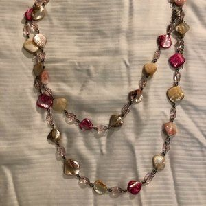 Extra long, natural beaded necklace